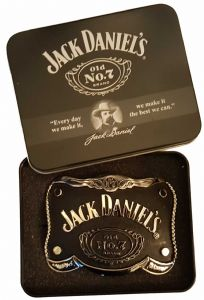 Jack Daniel's Old No. 7 Officially Licensed Curved Belt Buckle with Collectors Tin. Code AZ2